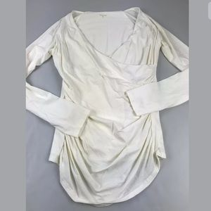 Garnet Hill White Faux Wrap Surplice JULIE Top M